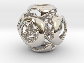 Tangled Cube Pendant in Rhodium Plated Brass