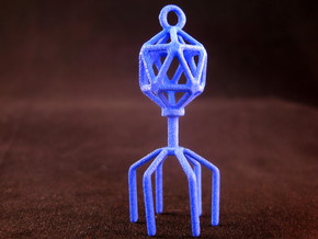 Bacteriophage Virus Pendant in Blue Strong & Flexible Polished