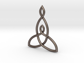 Mother And Child Knot Pendant in Polished Bronzed Silver Steel: Medium