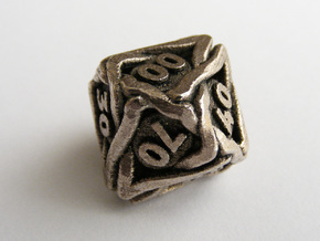 'Twined' Dice 10D10 (Decader) Gaming Die in Stainless Steel