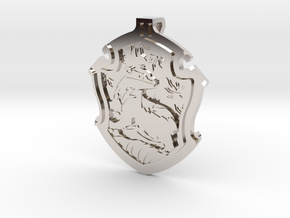 Hufflepuff House Crest - Pendant SMALL in Rhodium Plated Brass