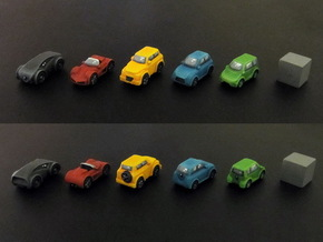 Miniature cars, 5 models x 1 (5pcs) in White Strong & Flexible Polished