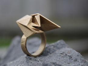 Spaceship Ring v2 Size 7 in Natural Brass