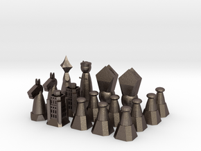 Chess Set 1/2 in Polished Bronzed Silver Steel