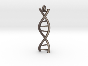 DNA Pendant with hook in Polished Bronzed Silver Steel