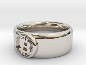 Bitcoin Ring (BTC) - Size 9.0 (U.S., 18.95mm dia) in Rhodium Plated Brass