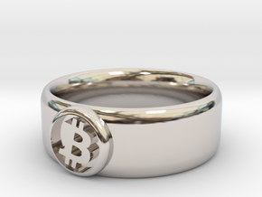 Bitcoin Ring (BTC) - Size 11.5 (U.S. 20.98mm dia) in Rhodium Plated Brass