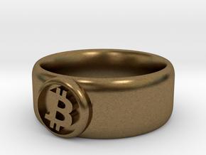 Bitcoin Ring (BTC) - Size 8.5 (U.S. 18.54mm dia) in Natural Bronze