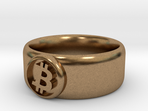 Bitcoin Ring (BTC) - Size 8.0 (U.S. 18.14mm dia) in Natural Brass