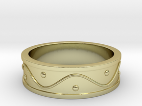 Ring Dots and Wave - Size 7 in 18k Gold Plated Brass