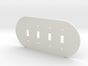 plodes® 4 Gang Toggle Switch Wall Plate in White Natural Versatile Plastic