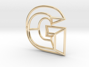 G Pendant in 14k Gold Plated Brass