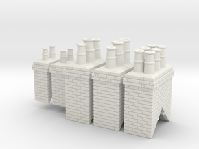 Chimneys Type 1 X 2 With 2,3 &  4 - 4mm in White Strong & Flexible