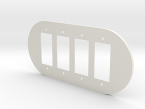 plodes® 4 Gang Duplex Outlet Wall Plate in White Natural Versatile Plastic
