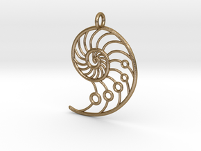 Snail Pendant in Polished Gold Steel