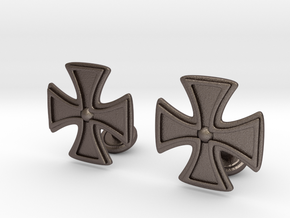 Designer Cross Cufflink in Polished Bronzed Silver Steel
