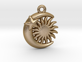 Sun&Moon&Star Pendant in Polished Gold Steel