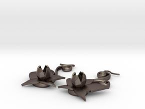 Flower Earrings in Polished Bronzed Silver Steel