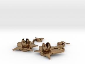 Flower Earrings in Natural Brass