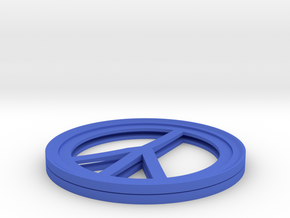 Peace Sign Coffee Cup Coaster (TWO PER SET) in Blue Strong & Flexible Polished