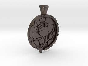 Enchanted Rose Pendant in Polished Bronzed Silver Steel