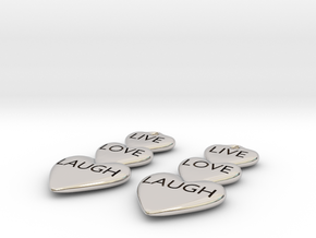 Live Love Laugh Hearts Earrings in Rhodium Plated Brass