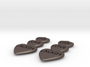 Live Love Laugh Hearts Earrings in Polished Bronzed Silver Steel