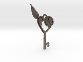 Key Pendant in Polished Bronzed Silver Steel