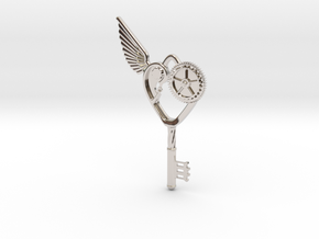 Key Pendant in Rhodium Plated Brass