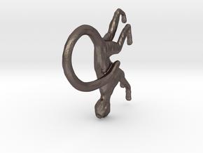 Monkey Pendant in Polished Bronzed Silver Steel