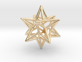 Stellated Dodecahedron Star Earring in 14k Gold Plated Brass
