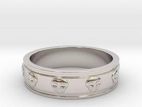 Ring with Skulls in Rhodium Plated Brass