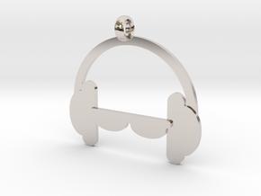 Headphones charm in Rhodium Plated Brass