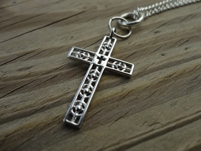 Atomic Cross in Rhodium Plated Brass