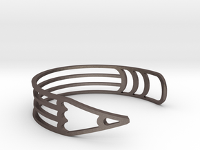 "Bracelet ""Pencil"" in Polished Bronzed Silver Steel"