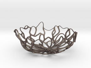 Seaweed Bowl / Fruit Bowl  in Polished Bronzed Silver Steel