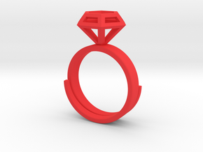 Diamond Ring US 7 3/4 in Red Processed Versatile Plastic