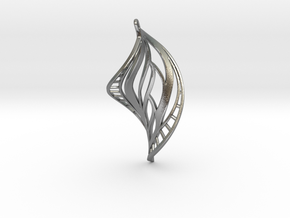 DNA Leaf Spiral Earring (left) in Natural Silver