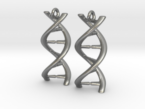 DNA Earrings in Natural Silver