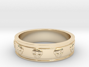Ring with Skulls in 14K Yellow Gold