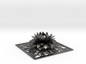 Aster flower decor element STL in Polished Nickel Steel