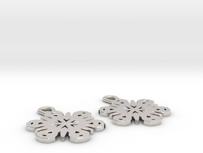 Small Snowflake Earrings in Rhodium Plated Brass