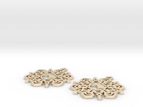 Yin Yang Snowflake Earrings  in 14K Yellow Gold