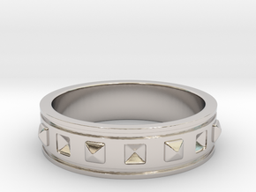 Ring with Studs in Rhodium Plated Brass