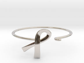 Ribbon Wire Bracelet in Rhodium Plated Brass