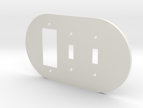 plodes® 3 Gang 2 Toggle Combo Wall Plate in White Natural Versatile Plastic