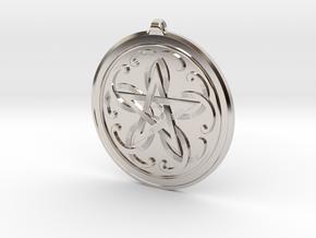 Celtic Pentagram Knot Pendant~44mm (1 3/4 inch) in Rhodium Plated Brass