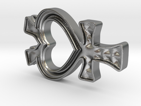 Sailor Mercury Symbol Pendant in Natural Silver