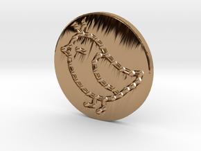 Sew-in Bird Button 3cm in Polished Brass