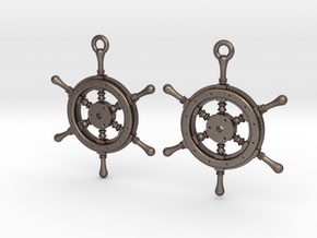Ship wheel earrings in Polished Bronzed Silver Steel